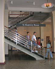 The stairs to the Registry Room